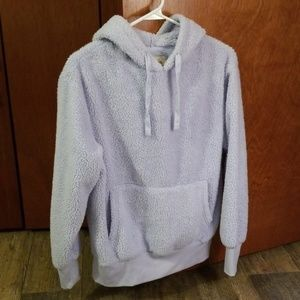 SO LIGHT PURPLE SHERPA PULLOVER HOODIE SIZE SMALL